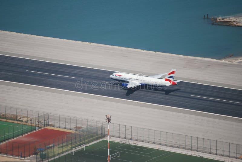 Start Gibraltar lotnisko obrazy stock