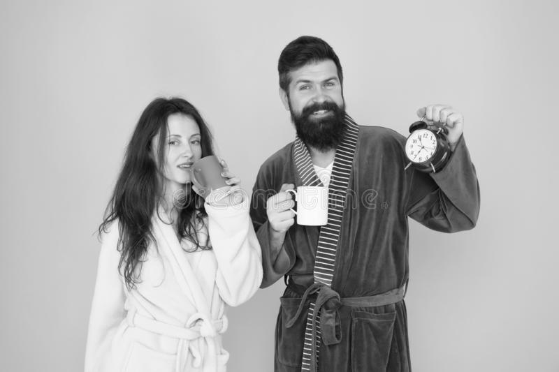 Start a healthy morning. time to love. tea time at home. hard morning. morning couple drink coffee. bearded man and girl stock photo