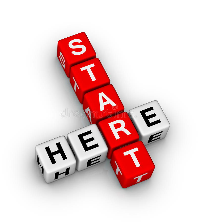 Start here. Crossword puzzle icon stock illustration