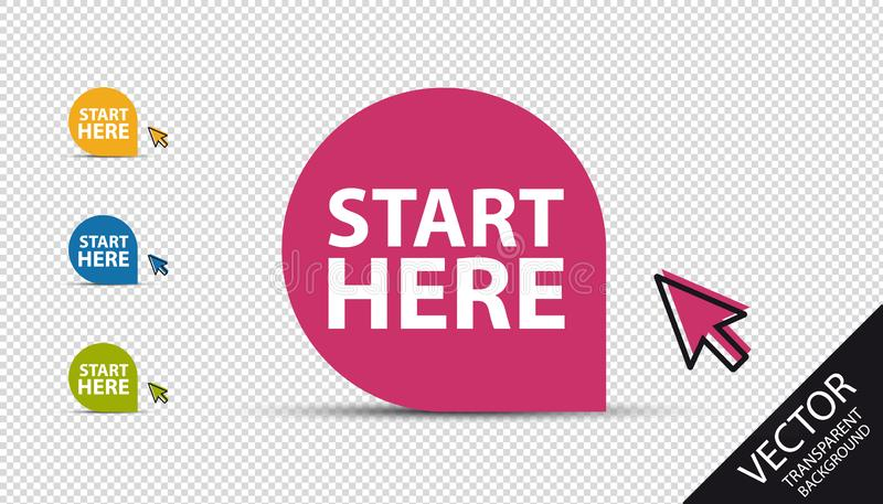 Start Here Button - Colorful Vector Illustration With Mouse Arrow - Isolated On Transparent Background stock illustration