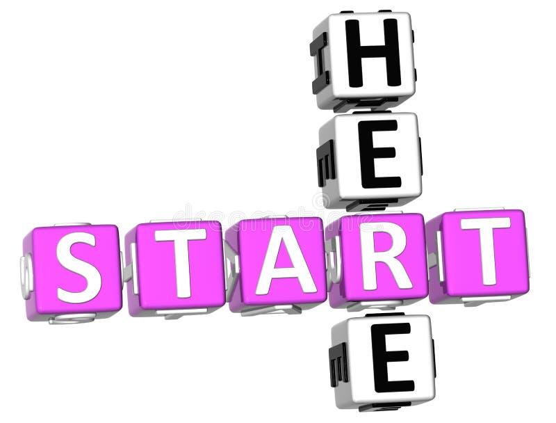 Start Here Crossword. 3D Start Here Crossword on white background stock illustration