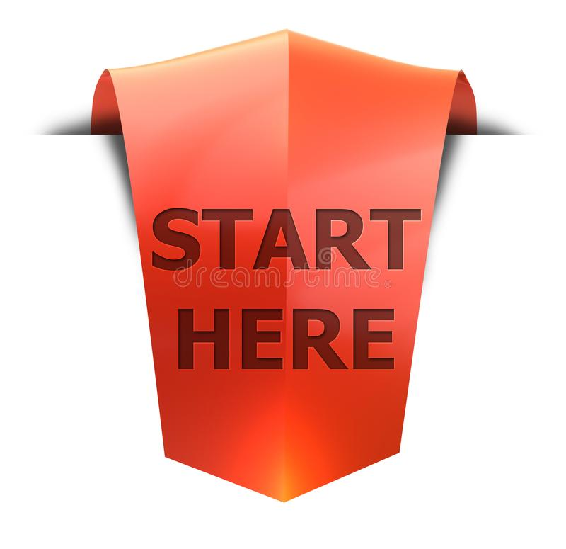 Banner start here. Start here 3D rendered red banner , isolated on white background royalty free illustration