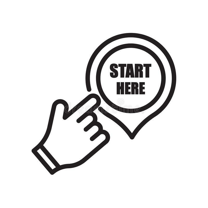 Start here icon isolated on white background. For your web and mobile app design royalty free illustration