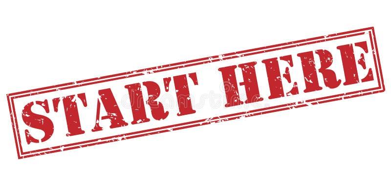 Start here red stamp. On white background stock illustration