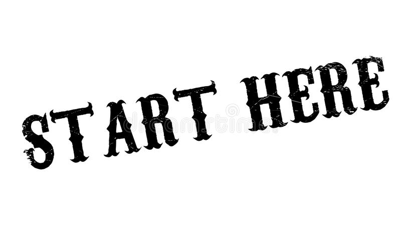 Start Here rubber stamp. Grunge design with dust scratches. Effects can be easily removed for a clean, crisp look. Color is easily changed royalty free illustration