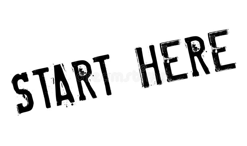 Start Here rubber stamp. Grunge design with dust scratches. Effects can be easily removed for a clean, crisp look. Color is easily changed stock illustration