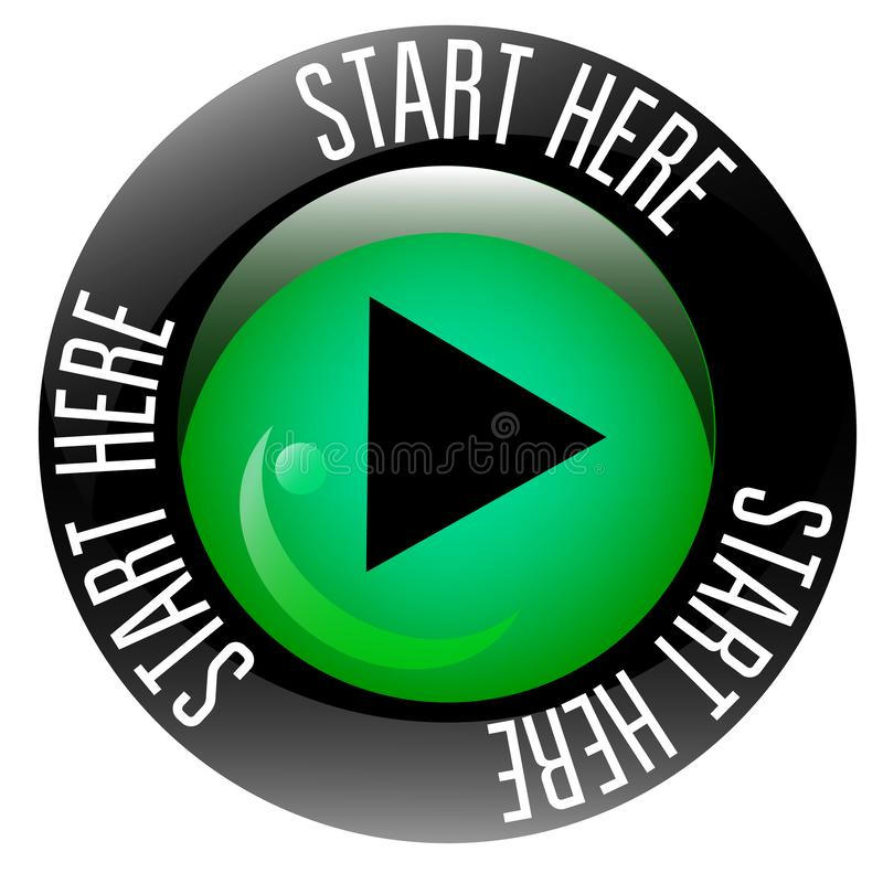 Start here sign on white background. Badges and stamps series royalty free illustration