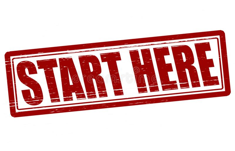 Start here. Stamp with text start here inside, illustration stock illustration