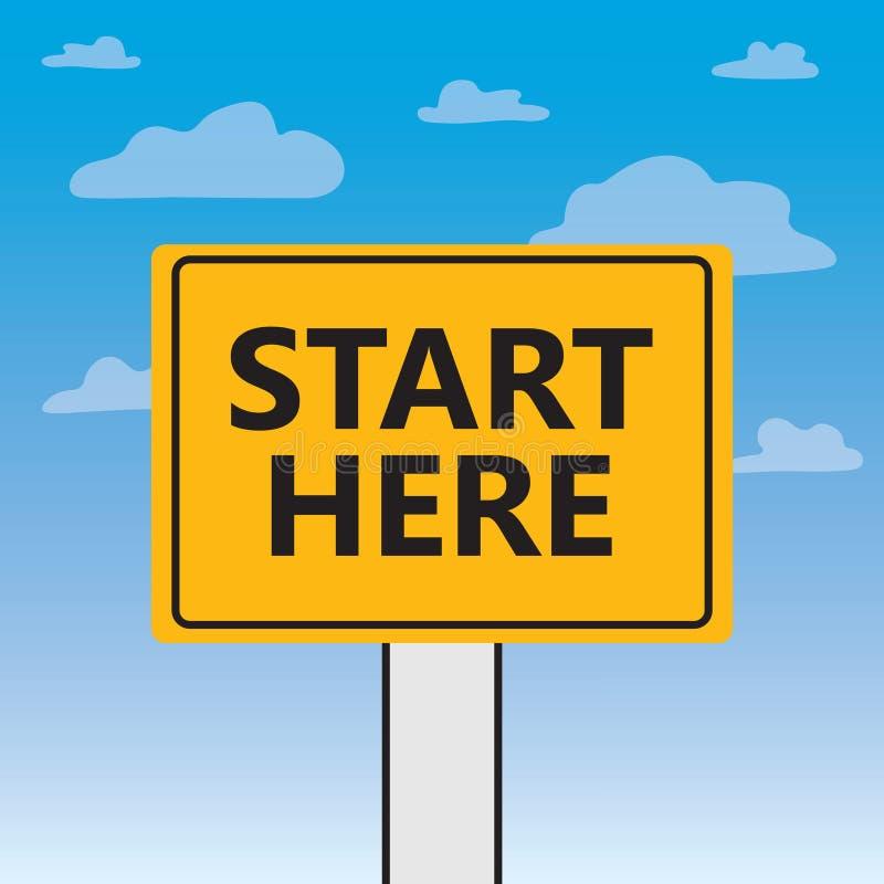 Start here written on a billboard. Vector illustration stock illustration
