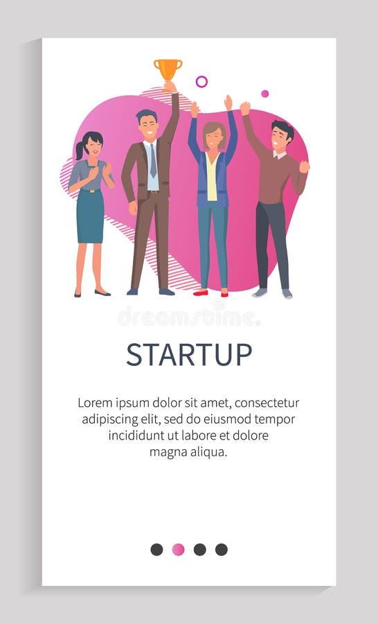 Start holt dem erfolgreichen intelligenten Team Trophäe stock abbildung