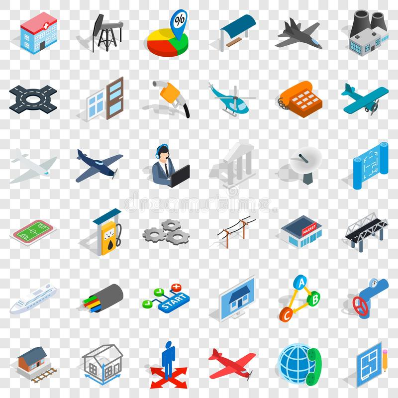 Start icons set, isometric style. Start icons set. Isometric style of 36 start vector icons for web for any design stock illustration