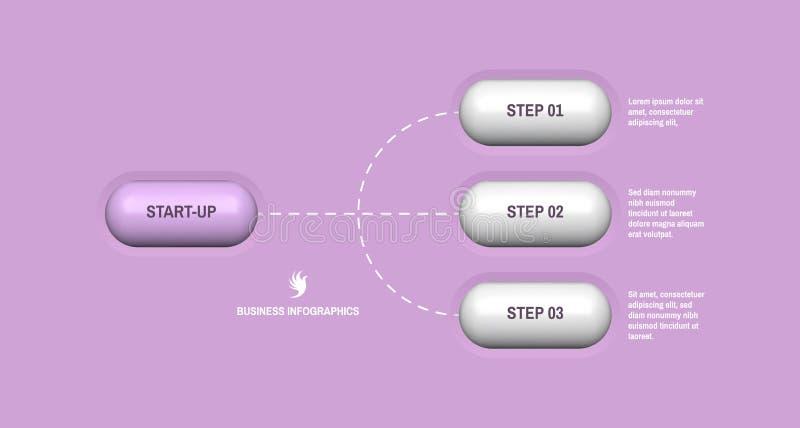 Start infographic malplaatje met 3 stappen Bedrijfs concept Vectorillustratie voor marketing, onderzoek, statistieken en analytic vector illustratie