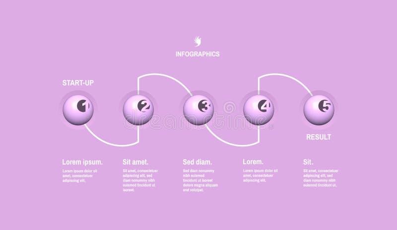 Start infographic malplaatje met 5 stappen Bedrijfs concept Vectorillustratie voor marketing, onderzoek, statistieken en analytic vector illustratie