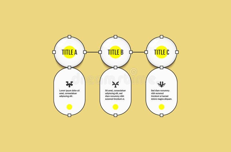 Start infographic malplaatje met 3 stappen Bedrijfs concept Vectorillustratie voor marketing, onderzoek, statistieken en analytic royalty-vrije illustratie