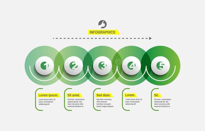 Start infographic malplaatje met 5 stappen Bedrijfs concept Vectorillustratie voor marketing, onderzoek, statistieken en analytic stock illustratie