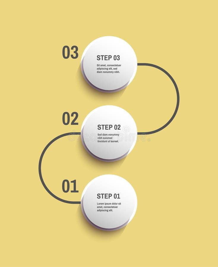 Start infographic malplaatje met 3 stappen Bedrijfs concept Vectorillustratie voor marketing, onderzoek, statistieken en analytic stock illustratie