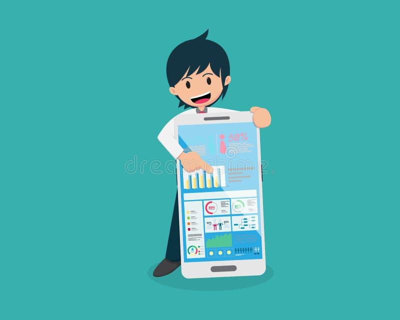 Start 01 ja eller ingen rätt eller WrongStartup 01 hållande stor smart telefon och punkt till all information på skärmen stock illustrationer