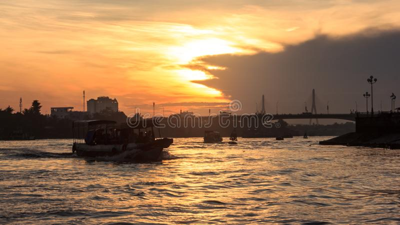 Start journey with Beautiful Summer Sunrise Morning View at Quang Trung bridge Can Tho Float Market, Hau River, Can Tho, Vietnam. Start journey with Beautiful stock images