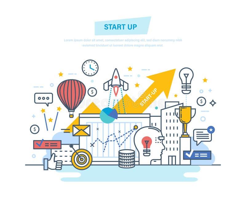 Start, kreative, moderne Informationstechnologie, Geschäft Projektentwicklung, Berufswachstum vektor abbildung