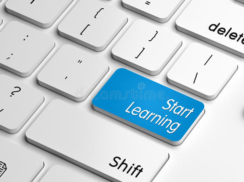 Start learning. Keyboard button or key, concept of online education, training and skill acquiring