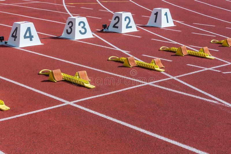 Start line of sprint. In the athletics stadium stock photo