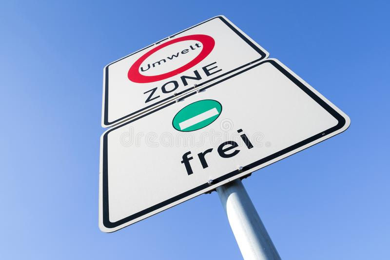 Start of a low-emission zone. German road sign: start of a low-emission zone, vehicles with green low-emission zone sticker permitted royalty free stock photo