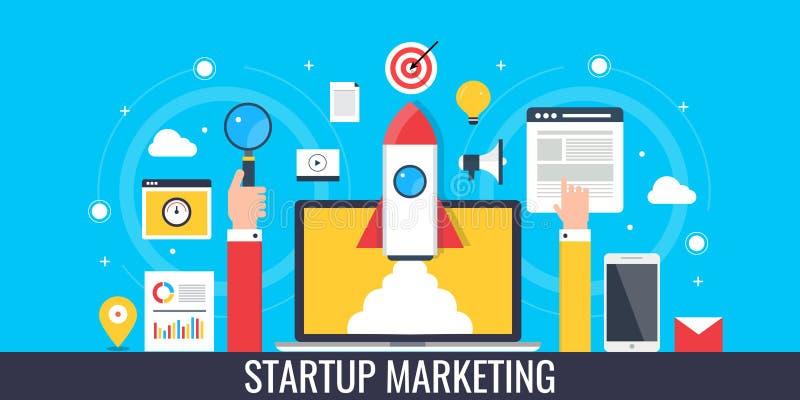 Start marketing - raket die uit uit laptop komen Vlakke ontwerp marketing banner vector illustratie