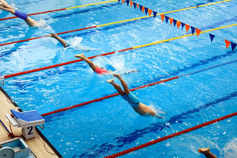 start men swimmers in 50 metres freestyle royalty free stock photo