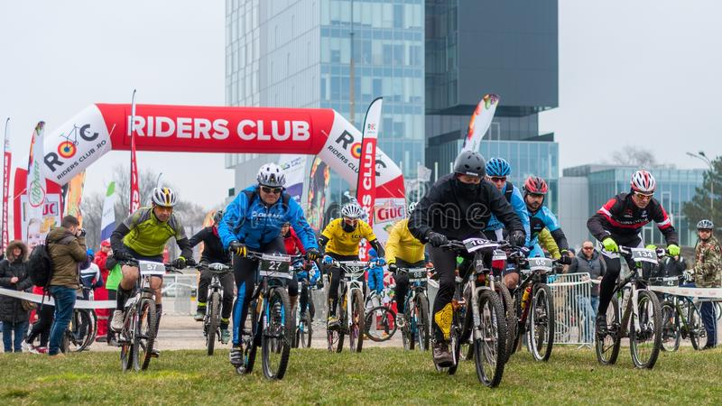 Start on mountain bike contest royalty free stock images