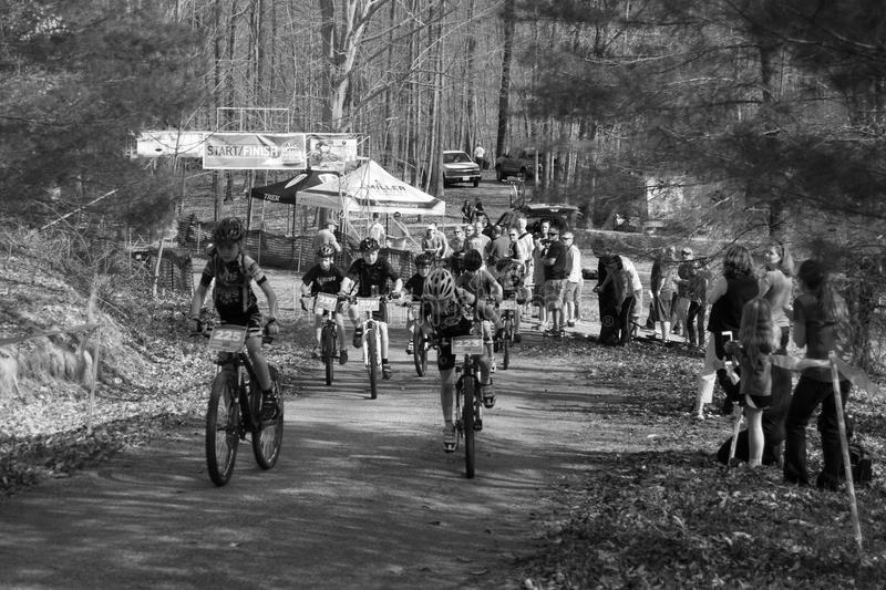 Start of a Mountain Bike Race stock photography