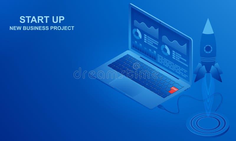 Start-, neues Geschäftsprojekt Isometrische Ansicht der Illustration lizenzfreie abbildung