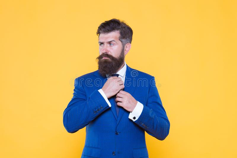 Start new day. handsome bearded man corporate leader. male beauty fashion. successful and charismatic lawyer. leadership. Concept. life management. superior royalty free stock photography