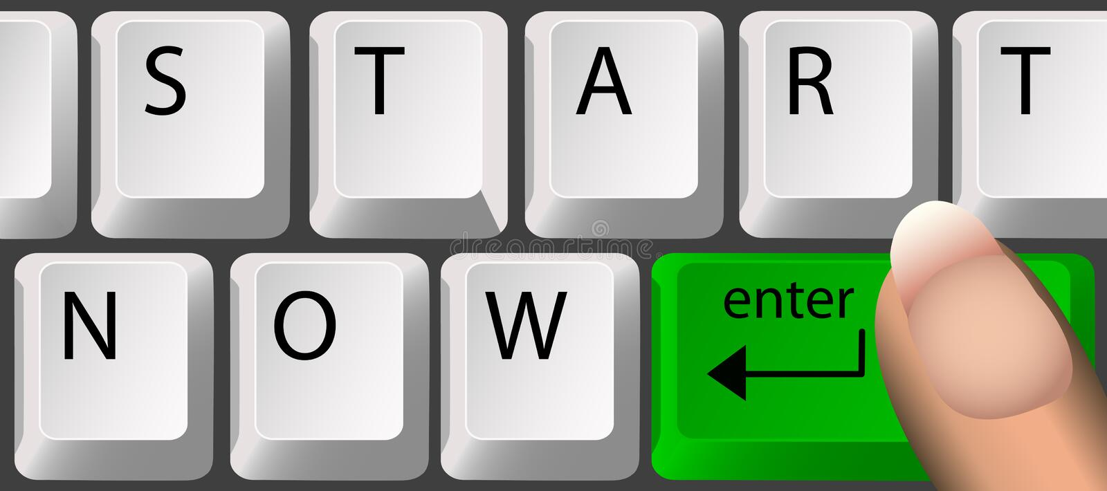 START NOW, Keyboard. Keyboard, with a green Enter key, spells out'start now'. Clean render of a vector
