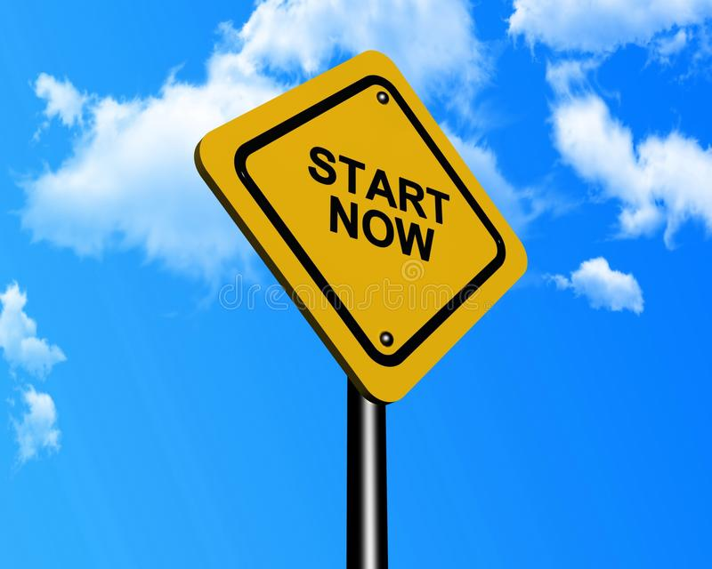 Start now sign. Illustration of start now sign with blue sky and cloudscape background royalty free illustration