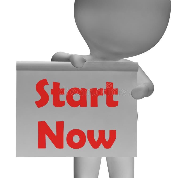 Start Now Sign Shows Begin Or Do Immediately vector illustration