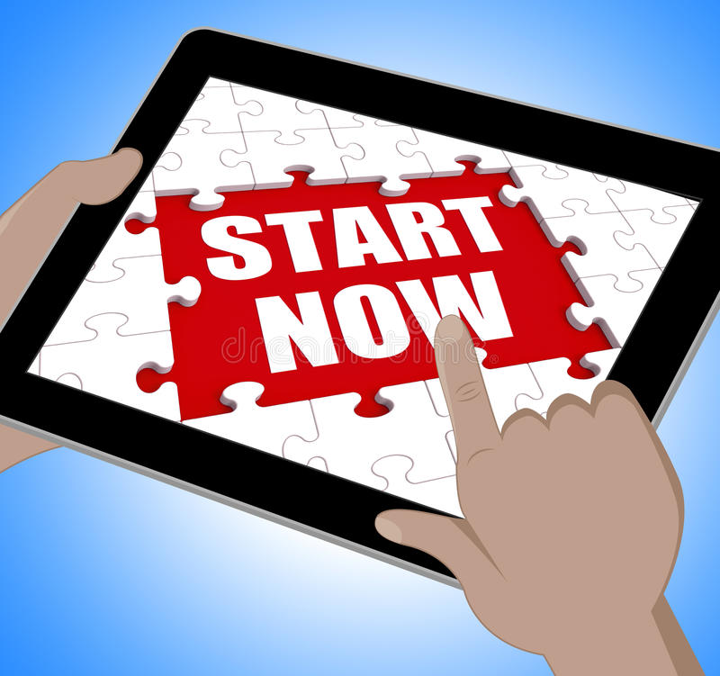 Start Now Tablet Shows Commence Or Begin Immediately. Start Now Tablet Showing Commence Or Begin Immediately royalty free illustration