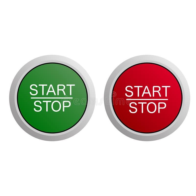 Start- och stoppknapp på vit bakgrund stock illustrationer