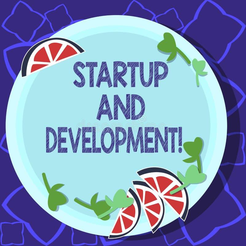 Start och utveckling för handskrifttexthandstil Begreppsbetydelsesökande för en repeatable och scalable affärsmodell Cutouts av royaltyfri illustrationer