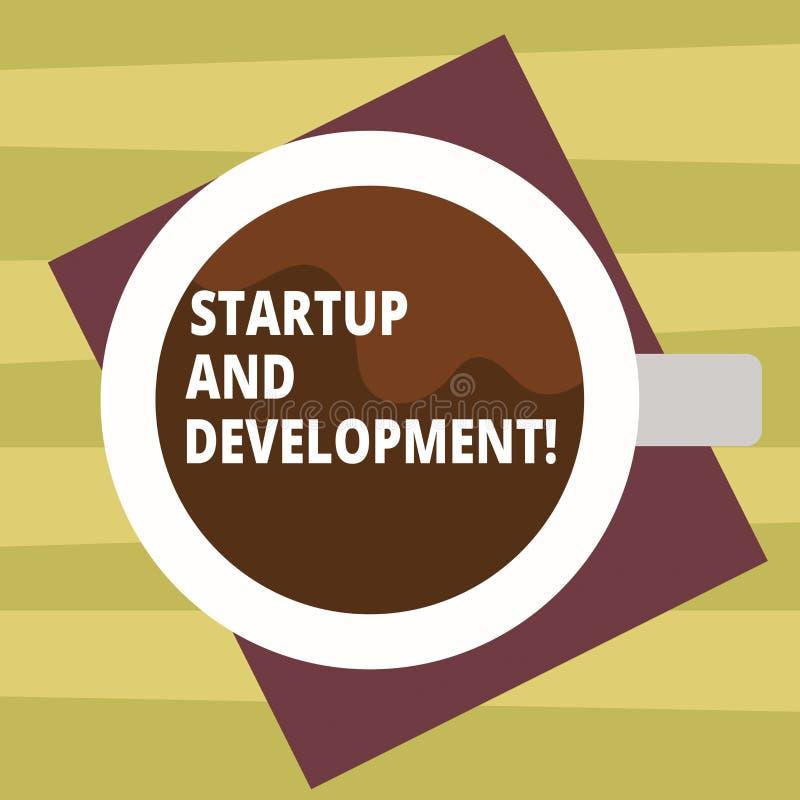 Start och utveckling för textteckenvisning Begreppsmässigt fotosökande för en repeatable och scalable affärsmodell Top View stock illustrationer