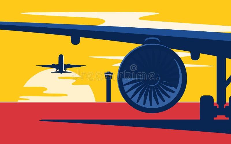start Plan stilvektorillustration av trafikflygplanen på solar stock illustrationer