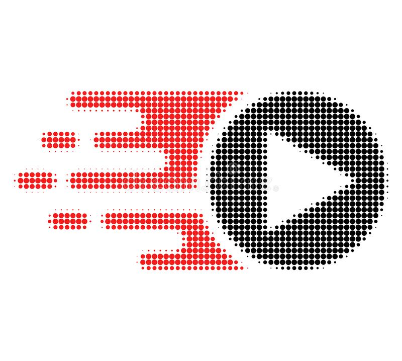 Start Play Halftone Dotted Icon with Fast Rush Effect stock illustration