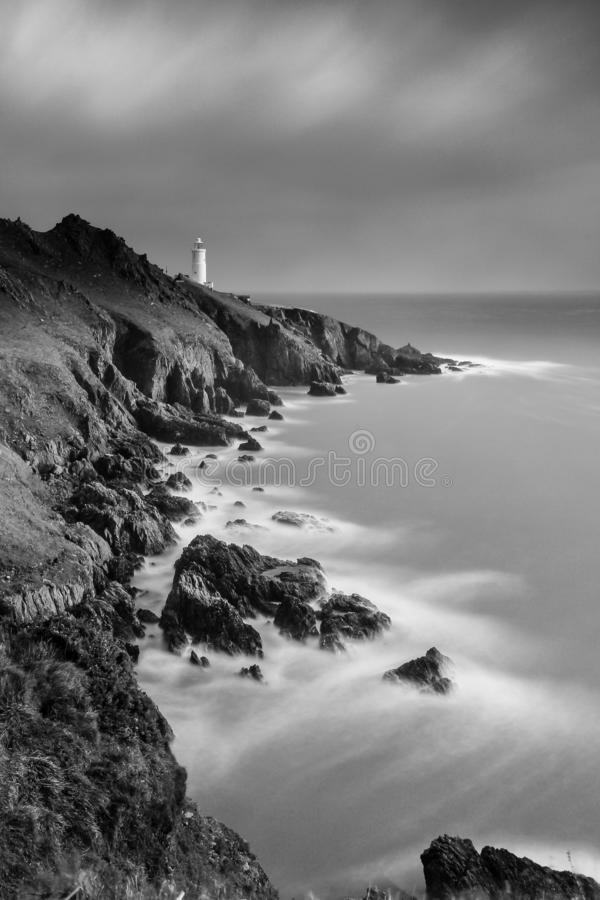 Start Point in Devon. Black and white slow exposure photograph. Start Point Lighthouse in Devon. Black and white slow exposure photograph royalty free stock photos
