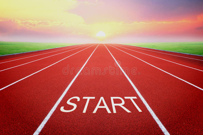 Start point with sunrise background. Conception of business start.start point with sunrise background stock images
