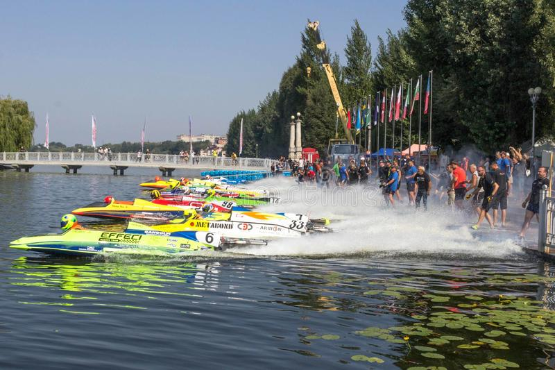 Start of the race UIM World Championship 2018 Ternopil Hydro GP stock photography