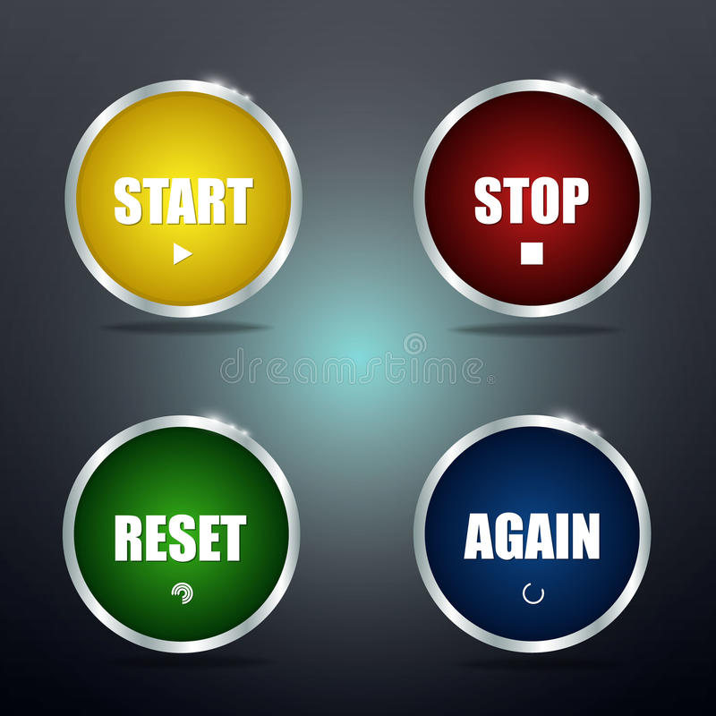 Start reset stop and again buttons stock illustration