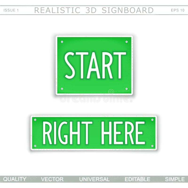 Start. Right here. Stylized car license plate. Top view. Vector design elements stock illustration