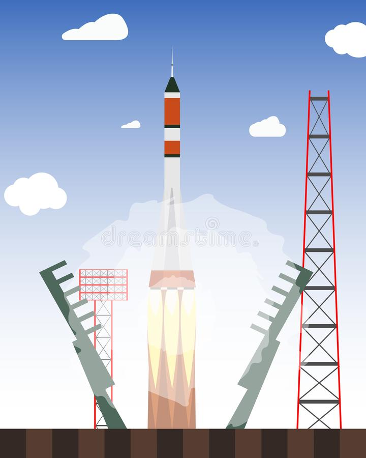 Start rocket from the spaceport. Launch raekty in space. Vector illustration stock illustration