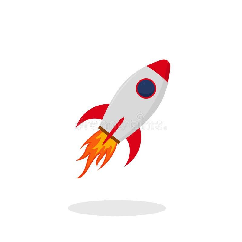 Start rode raket in vlakke stijl Het pictogram van de lanceringsraket op geïsoleerde achtergrond Rode pendel met brand Vector royalty-vrije illustratie