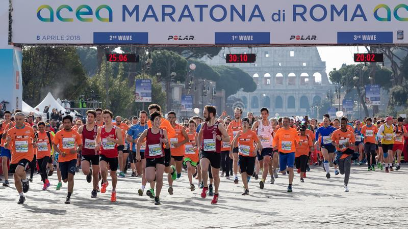 Start of the Run for Fun in the 24th edition of the Rome Marathon. royalty free stock photo