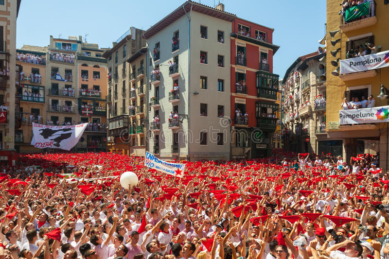 Start of San Fermin Festival in Pamplona royalty free stock photo